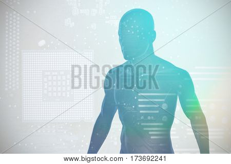 Image of a black character against micro parts in computer chip 3D