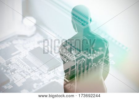 View of a black character against computer chip in circuit board 3D