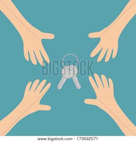 Four Hands arms reaching to house key set sign symbol. Taking hand. Close up body part. Business card. Flat design. Wealth concept. Blue background. Isolated. Vector illustration