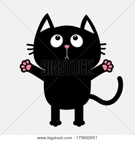 Black cat looking up ready for a hugging. Open hand paw. Kitty reaching for a hug. Funny Kawaii animal. Baby card. Cute cartoon character. Pet collection. Flat design White background Isolated. Vector