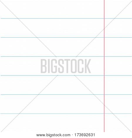 Notebook paper texture lined page template. Red line. Blank sheet of copybook background. Flat design. Vector illustration