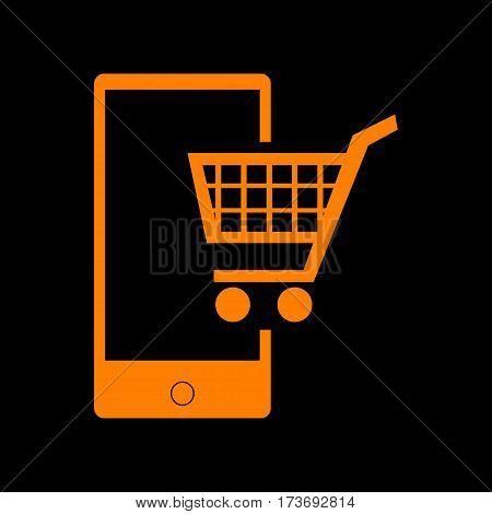 Shopping on smart phone sign. Orange icon on black background. Old phosphor monitor. CRT.