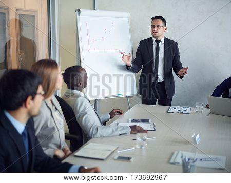 Business coach explaining his ideas on whiteboard