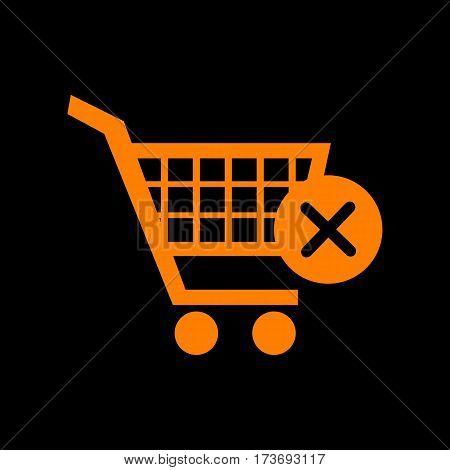 Shopping Cart with delete sign. Orange icon on black background. Old phosphor monitor. CRT.