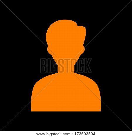 User avatar illustration. Anonymous sign. Orange icon on black background. Old phosphor monitor. CRT.