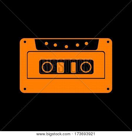 Cassette icon, audio tape sign. Orange icon on black background. Old phosphor monitor. CRT.