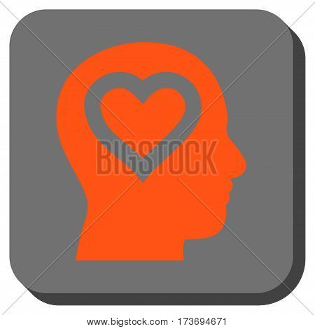 Love In Head toolbar button. Vector pictograph style is a flat symbol inside a rounded square button orange and gray colors.