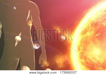Composite image of planets over sun against black background
