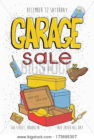 Hand drawn colorful illustration with old goods. Garage sale poster, event invitation.