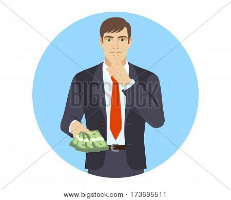 Businessman with money making hush sign. Portrait of businessman in a flat style. Vector illustration.
