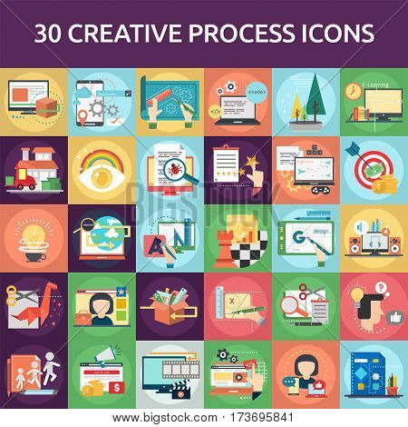Creative Process Icons Set | Set of great flat icons with style flat design and use for Business, Creative Idea, Concept, Marketing and much more