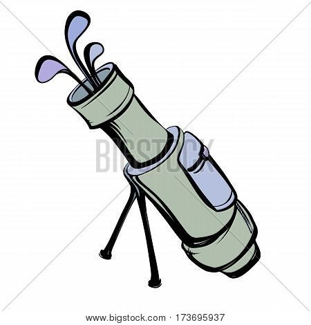 Colored vector illustration of a golf bag with clubs on a white background in the style thumbnail