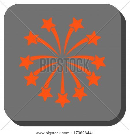 Spherical Fireworks toolbar icon. Vector pictograph style is a flat symbol in a rounded square button orange and gray colors.