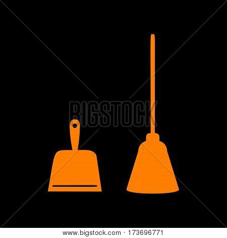 Dustpan vector sign. Scoop for cleaning garbage housework dustpan equipment. Orange icon on black background. Old phosphor monitor. CRT.