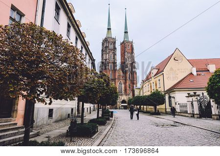 Wroclaw, Poland - 19th September, 2016. Gothic church of St. John the Baptist and historic Cathedral island Tumski ostrow streets. Seat of the Roman Catholic Archdiocese of Wroclaw.