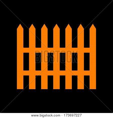Fence simple sign. Orange icon on black background. Old phosphor monitor. CRT.