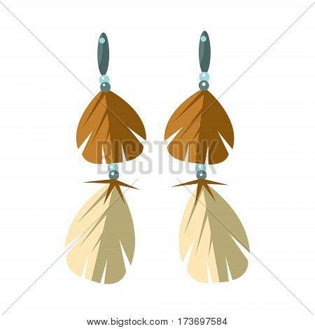 Earrings With Feathers, Native American Indian Culture Symbol, Ethnic Object From North America Isolated Icon. Tribal Decorative Element Of Indian Tribe Life Vector Cartoon Illustration.