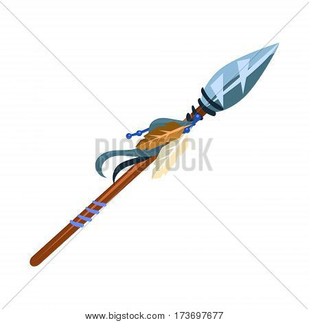 Warriors Spear Cold Weapon, Native American Indian Culture Symbol, Ethnic Object From North America Isolated Icon. Tribal Decorative Element Of Indian Tribe Life Vector Cartoon Illustration.
