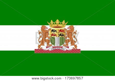 Flag of Rotterdam is a city in South Holland the Netherlands located geographically within the Rhine-Meuse-Scheldt river delta at the North Sea. Vector illustration
