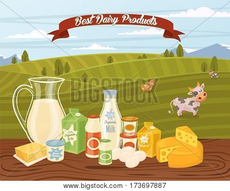 Farm products banner with dairy composition on wooden table and background of green rural landscape with cows, vector illustration. Organic farm food concept. Locally grown and natural milk products.