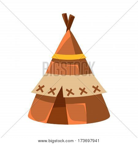 Wigwam Leather Living Hut, Native American Indian Culture Symbol, Ethnic Object From North America Isolated Icon. Tribal Decorative Element Of Indian Tribe Life Vector Cartoon Illustration.
