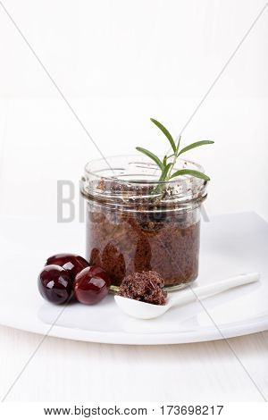 Tapenade - olive paste made from kalamata olives. Copy space.