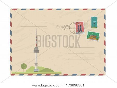 TV tower of Kuala Lumpur, Malaysia. Vintage postal envelope with famous architectural composition, postage stamps and postmarks on white background vector illustration. Airmail postal services.