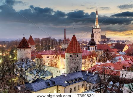 Sunset over Old City Town Tallinn In Estonia