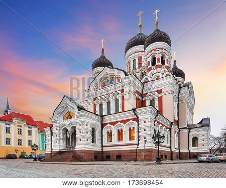 Tallinn Alexander Nevsky Cathedral Estonia at sunset