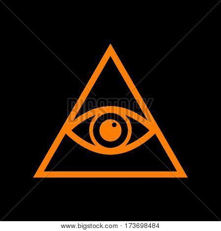 All seeing eye pyramid symbol. Freemason and spiritual. Orange icon on black background. Old phosphor monitor. CRT.