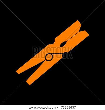 Clothes peg sign. Orange icon on black background. Old phosphor monitor. CRT.