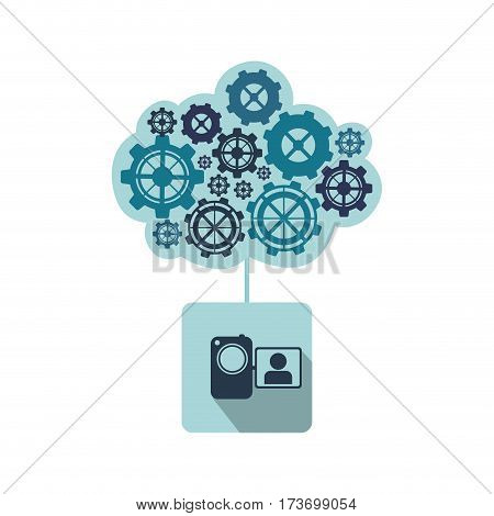 blue camcorder with gears icon, , vector illustraction design image