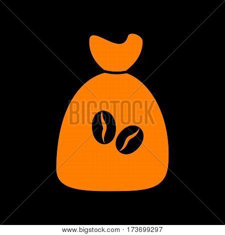 Coffee bag Icon. Coffee bag Vector. Coffee bag Icon Button. Orange icon on black background. Old phosphor monitor. CRT.