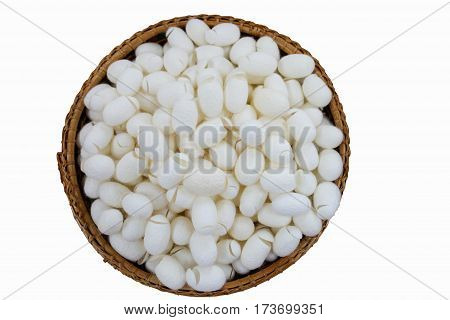 isolated pile of white cocoons in wooden basket