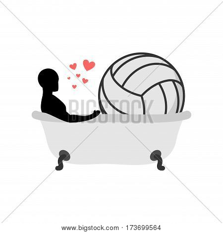 Lover Volleyball. Man And Ball In Bath. Joint Bathing. Passion Feelings Among Lovers. Romantic Date.