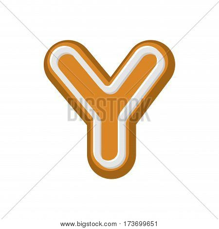 Letter Y Gingerbread. Peppermint Honey-cake Font. Cookies Alphabet. Lettering Biscuit