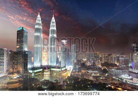 Kuala Lumpur Malaysia skyline at a night