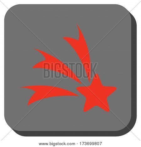 Falling Star interface icon. Vector pictograph style is a flat symbol in a rounded square button, red and black colors.