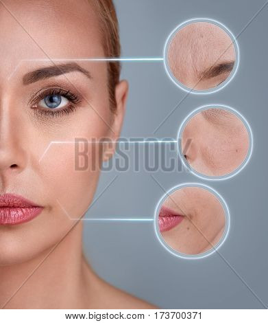 Portrait of woman with zooming detail of skin: damage, acne, wrinkles
