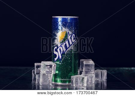 Sevastopol, Ukraine-july 7, 2015: Can Of Coca Cola Company Soft Drink Sprite On Ice. It Was Introduc