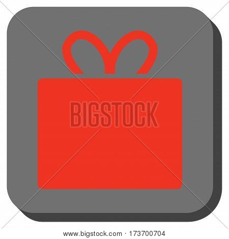 Gift square icon. Vector pictogram style is a flat symbol inside a rounded square button, red and black colors.