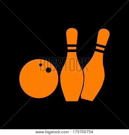 Bowling sign illustration. Orange icon on black background. Old phosphor monitor. CRT.