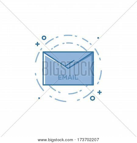 Vector illustration of filled bold outline envelop email icon. Graphic design concept of e-mail marketing, news letter, sms, message. Blue line icons isolated pictogram. Use in Web Project and App.