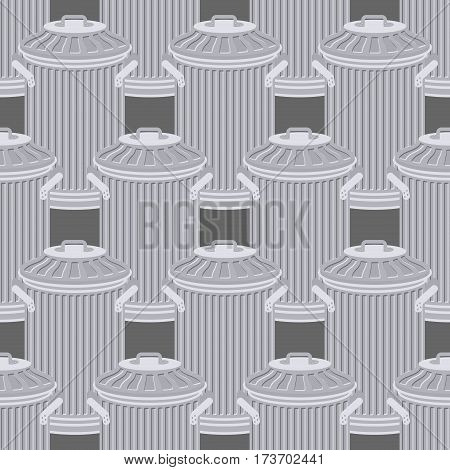Trash Can Seamless Pattern. Wheelie Bin Background. Dumpster Iron Ornament.