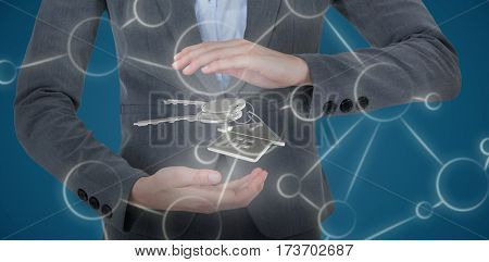 Businesswoman gesturing over white background against blue 3D