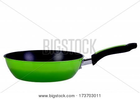 green pot for cooking on white background