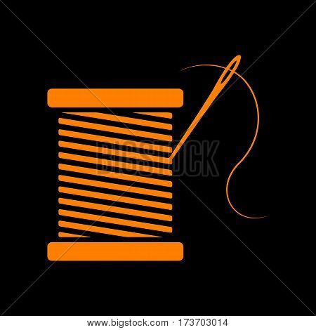 Thread with needle sign illustration. Orange icon on black background. Old phosphor monitor. CRT.