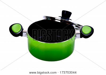 The green pot on the white background