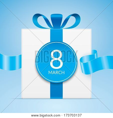 8 march greeting card template, with white gift box and blue waving ribbon. International womens day greeting car design.