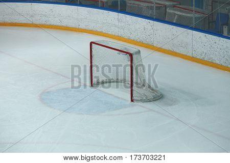 Empty hockey gate before the a hockey match